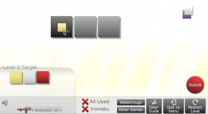 Schritt 1: Den schwarzen Filter legt man auf aufs erste Feld, was sich dadurch schwarz färbt. Der Filter wird dabei natürlich gelb.
