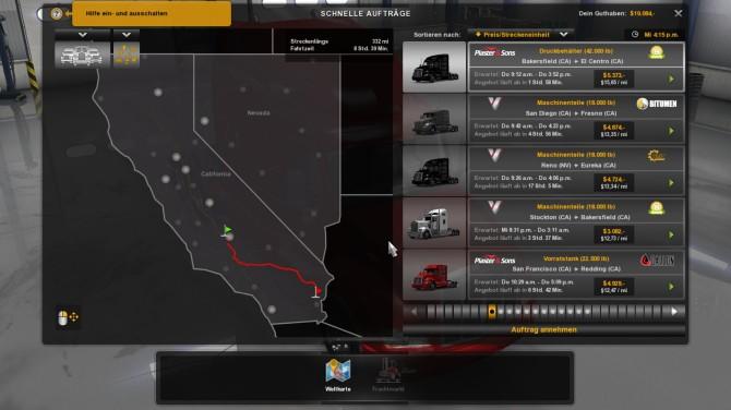 Auswahl der Route. Erstmal nur in California und Nevada.