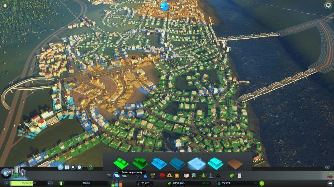 Grün, Blau, Gelb. Mit angestaubter Sim City 2000 Erfahrung findet man sich schnell in Skylines ein. Ohne großartig an die Hand genommen werden zu müssen, wächst meine Stadt stetig. Dabei werden je nach Bevölkerungsstand weitere Baumöglichkeiten freigeschaltet.